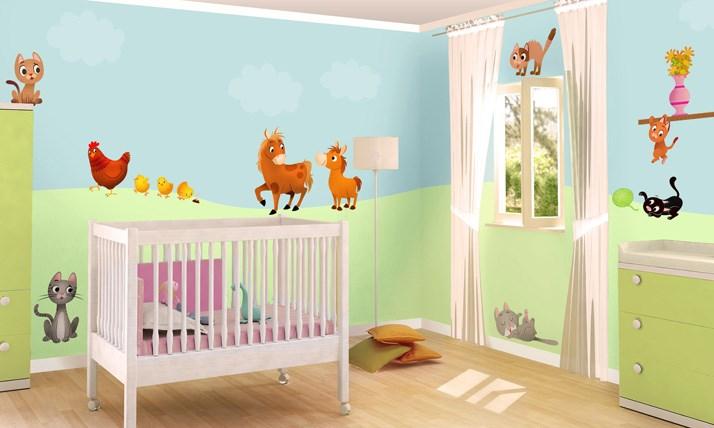 Stickers murali bambini cameretta cuccioli e coccole - Decorazioni murali camerette ...